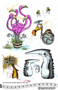 Katzelkraft-Stempelgummi---Flamingos-and-friends--JAB-collection