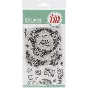 Avery-Elle-Clear-Stamps---Rustic-Wreath--Weihnachtskranz