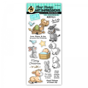 Art-Impressions-Clear-Stamps-Animal-Nativity-Set---Tierkrippe---Stempelset-inkl-Stanzen
