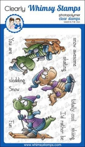 Whimsy-Stamps-Clear-Stamps---Winter-Sports-Dragons-Drachen