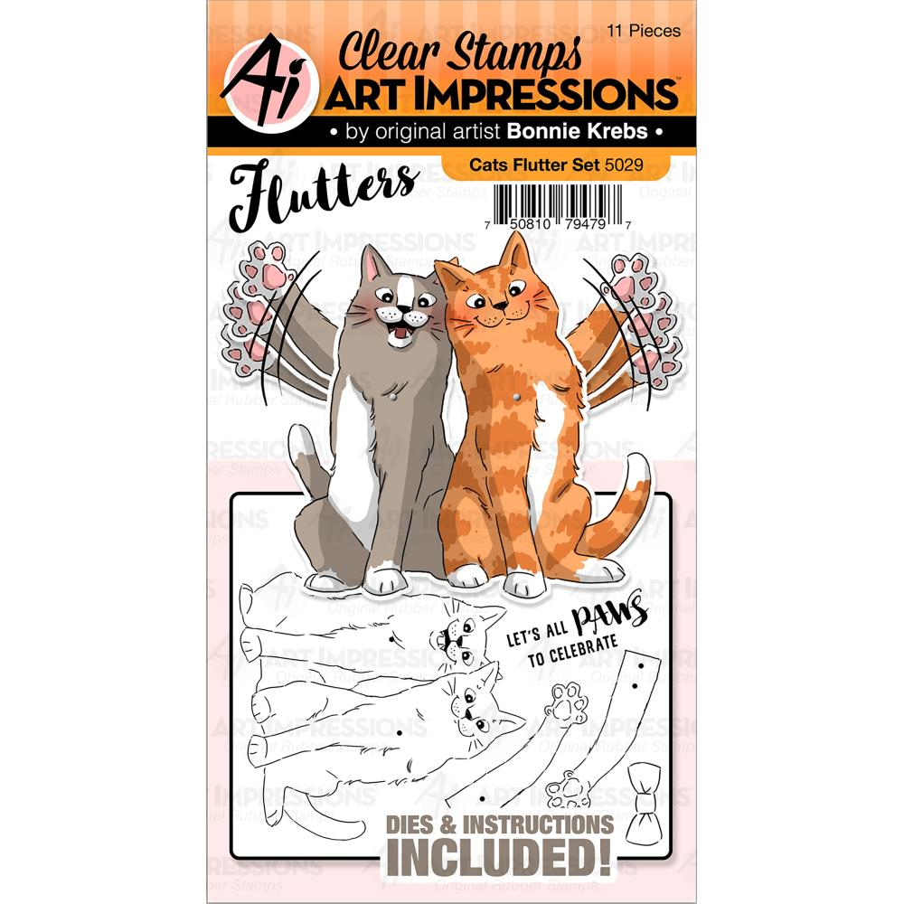 Bild 1 von Art Impressions Clearstamps & Stanz-Set - Flutters Stamp & Die Set -Cats