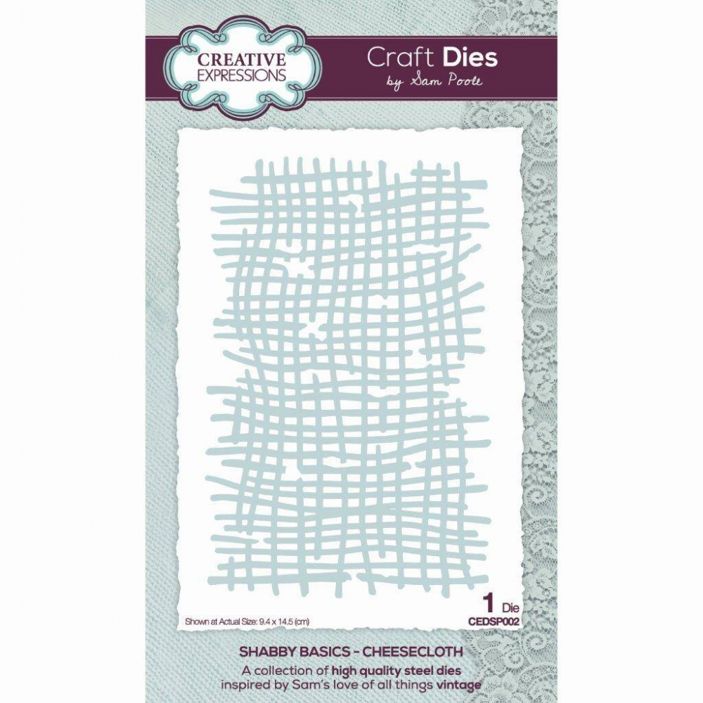 Bild 1 von Creative Expressions Sam Poole Shabby Basics Cheesecloth Craft Die Stanze - Stoff