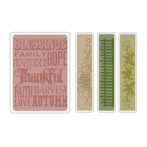 Bild 1 von Tim Holtz Alterations Prägefolder Texture Fades Thankful Background & Borders Set