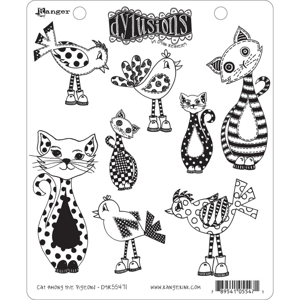 Bild 1 von Dyan Reaveley's Dylusions Cling Stamp Gummistempel Cat Among Pigeons