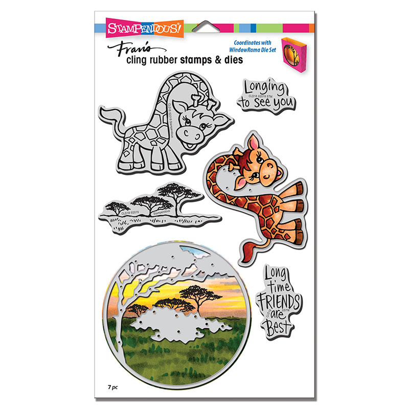 Bild 1 von Stampendous! Giraffe Cling Rubber Stamps And Cutting Dies Set - Stempel mit Stanzen
