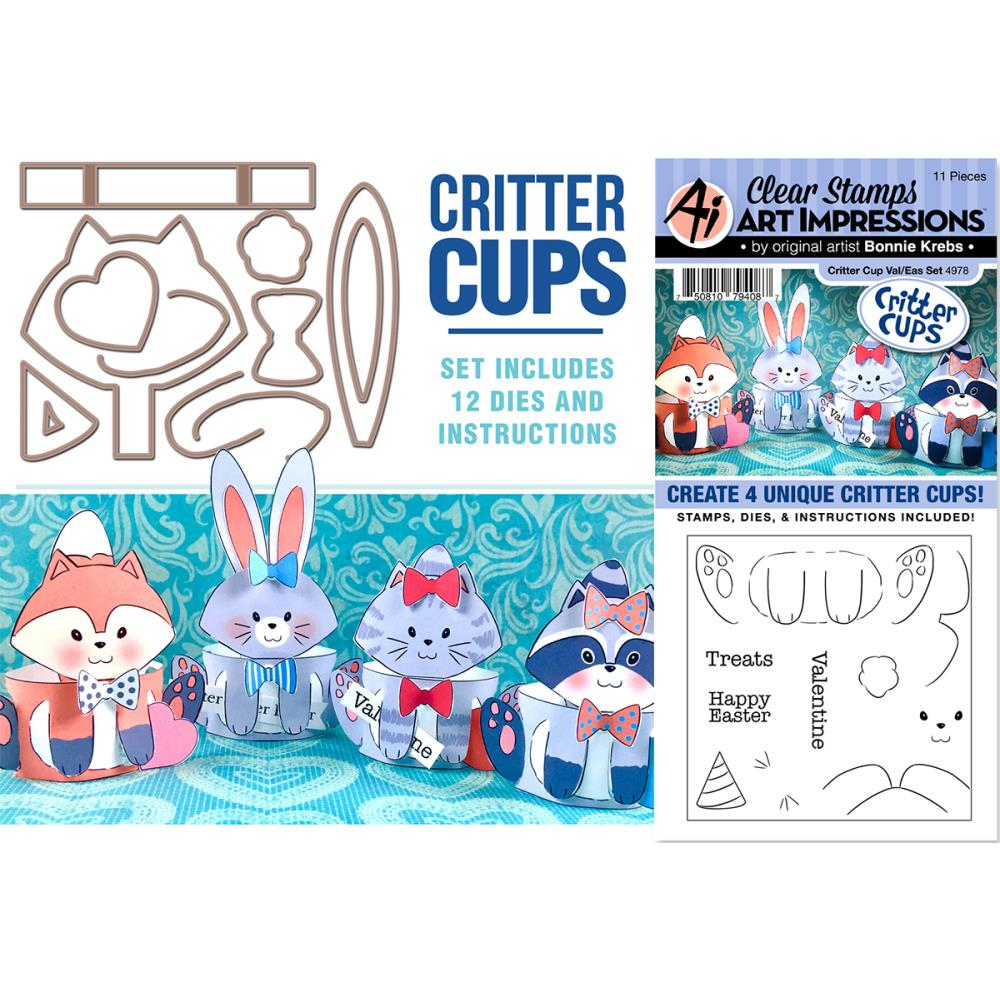 Bild 1 von Art Impressions Clearstamps & Stanz-Set - Critter Cups Clear Stamps - Valentines & Easter