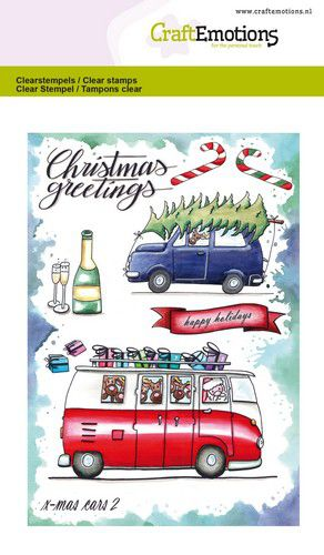Bild 1 von CraftEmotions Stempel - clearstamps A6 - x-mass cars 2 Carla Creaties