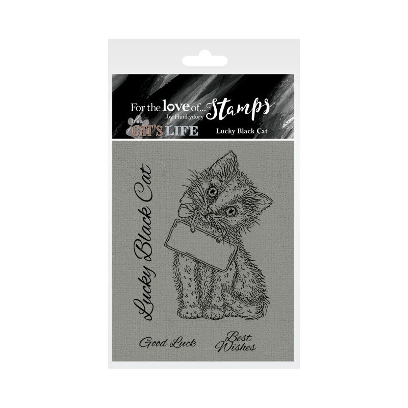 Bild 1 von For the love of...Stamps by Hunkydory - It's A Cat's Life Clear Stamp - Lucky Black Cat