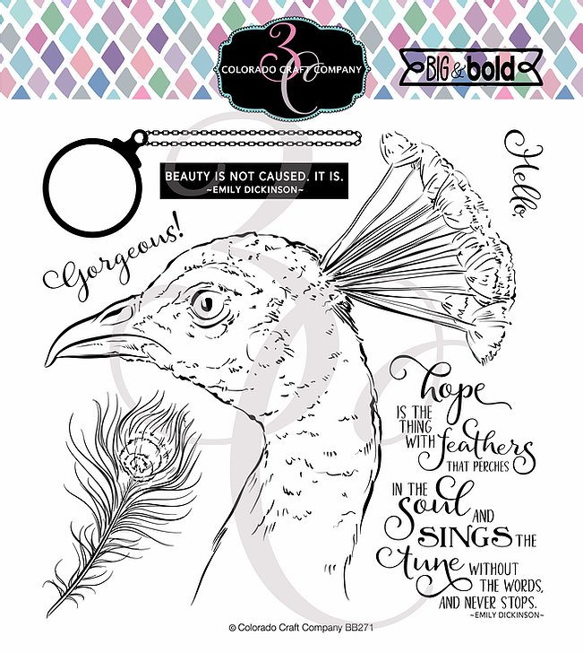 Bild 1 von Colorado Craft Company Clear Stamps - Big & Bold~Hope Sings Peacock