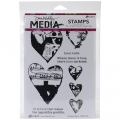 Dina Wakley Media Cling Stamps Collaged Hearts