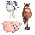 Gummistempel Stamping Bella Cling Stamp ODDBALL FARM ANIMALS (SET OF 3 RUBBER STAMPS)