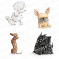 Gummistempel Stamping Bella Cling Stamp FRENCHIE, SCOTTIE, POODLE AND DACHSIE RUBBER STAMPS