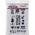 Dina Wakley Media Cling Stamps - Primitive Icons