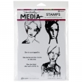 Dina Wakley Media Cling Stamps Scribbly Women