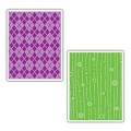 Sizzix  Prägefolder Textured Embossing Folders Argyle and Lines & Circles