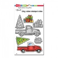 Stampendous Cling Stamps Truck Tidings Cling Stamps And Die Set